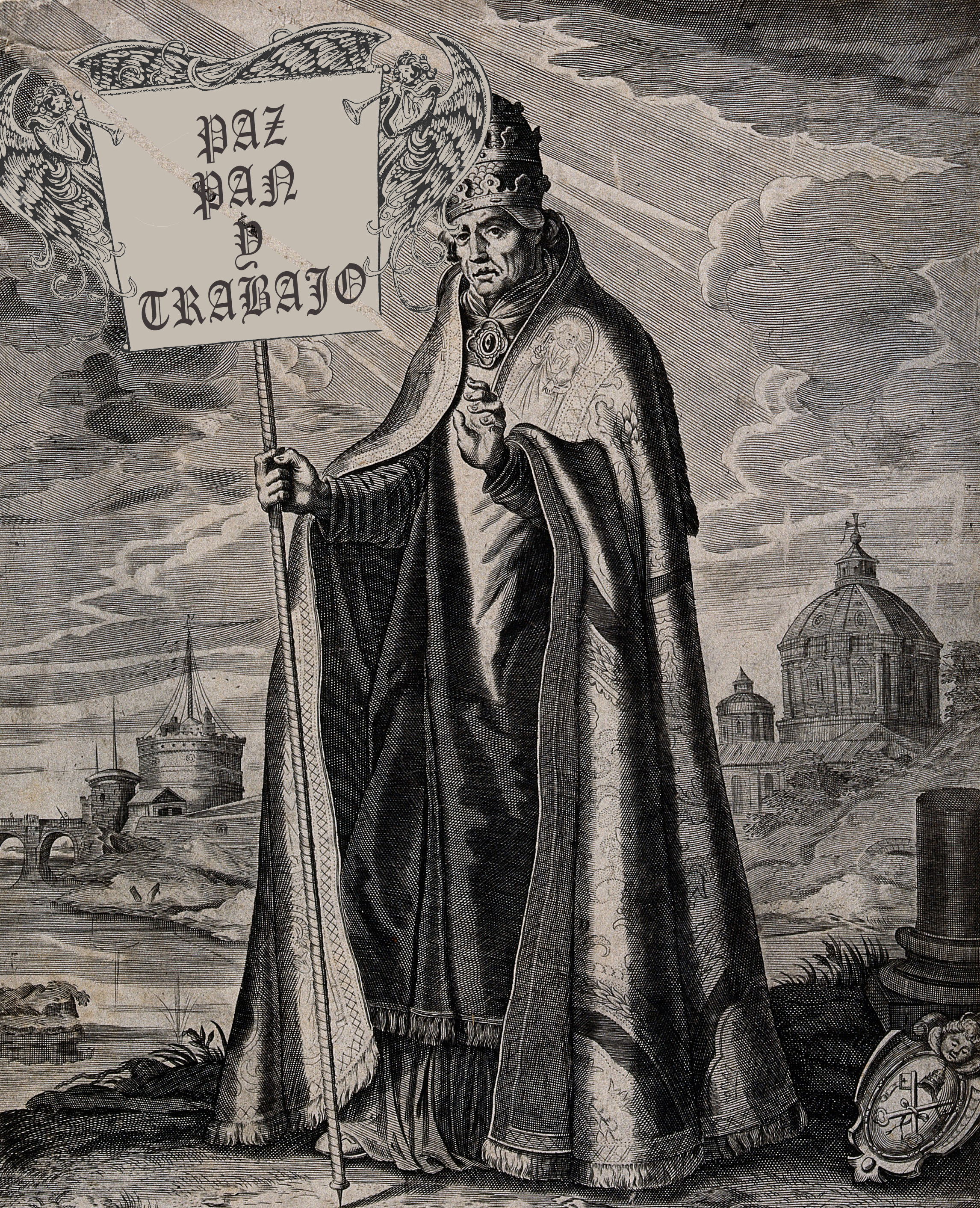 V0032164 Saint Gregory the Great. Engraving by A. Hogenberg after D.